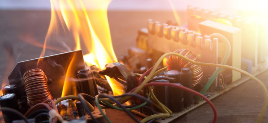 burning defective product wires